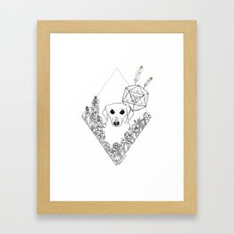 Geometric Dachshund Garden Framed Art Print