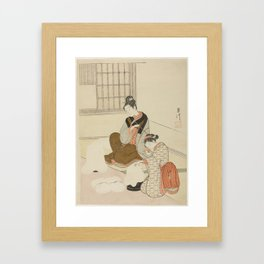 "Evening Snow on a Floss Shaper (Nurioke no bosetsu), from the series ""Eight Views of the Parlor (Zas Framed Art Print"