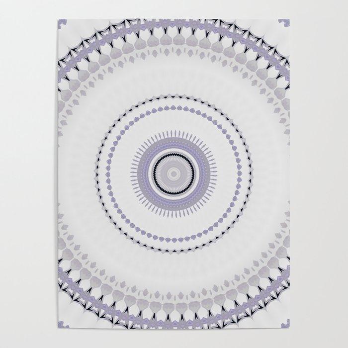 White and light Purple simple Mandala Design Poster by artaddiction45