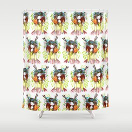 Girl and fox Shower Curtain