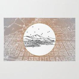Colorado Springs, Colorado City Skyline Illustration Drawing Rug