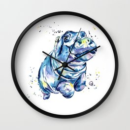 Hippo Colorful Watercolor Hippo Painting - Grace Wall Clock