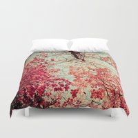 bright Duvet Covers featuring Autumn Inkblot by Olivia Joy StClaire