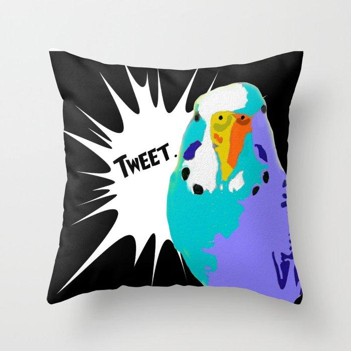 Tweet Keet Parakeet bird Throw Pillow