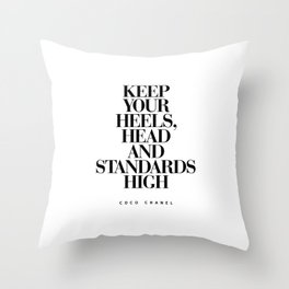 Keep Your Heels High Black and White Inspirational Typography Quote Grl Pwr Girls Bedroom Poster Throw Pillow