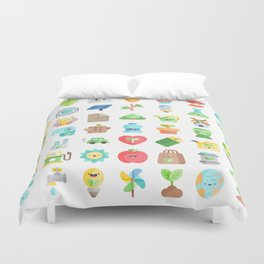 CUTE GREEN / ECO / RECYCLE PATTERN Duvet Cover