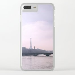 Eiffel Tower overlooking the Seine at Sunset Clear iPhone Case