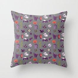Halloween pattern in grey Throw Pillow