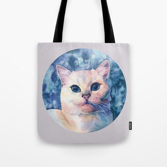"""White cat"" Tote Bag"