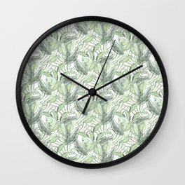 Sage Green Leaves Wall Clock