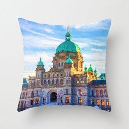 Victoria Parliament Building, BC Canada Throw Pillow