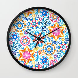 Watercolor Kaleidoscope Floral - brights Wall Clock