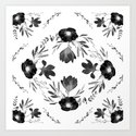 Floral Square Black & White by aniiiz