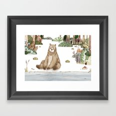 Mr.Brown is chilling by the river. Framed Art Print