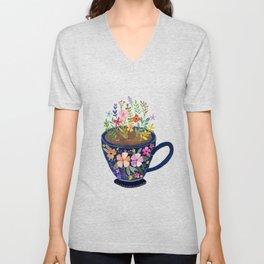 Mug with Flowers Unisex V-Neck