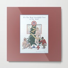 Team Cap Naughty Pinup Holiday Card Metal Print