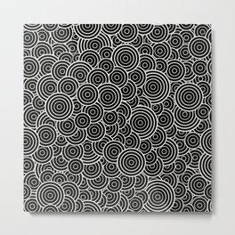 Chaotic Circles - Geometric Pattern (Black) Metal Print