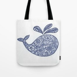 Whale Zentangle Tote Bag