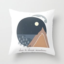 Midnight Sky, Dare to Dream Mountains Throw Pillow