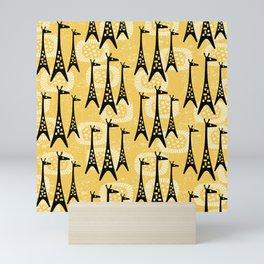 Mid Century Modern Giraffe Pattern Black and Yellow Mini Art Print