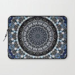 Dark Blue Grey Mandala Design Laptop Sleeve