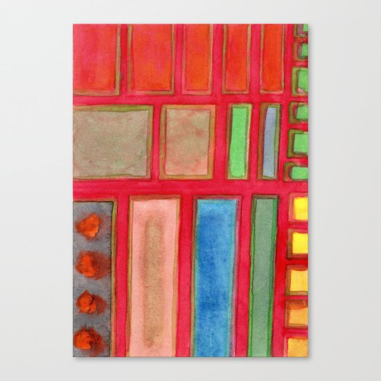 Some Chosen Rectangles orderly on Red Canvas Print