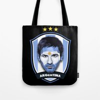 messi Tote Bags featuring Messi by Rudi Gundersen