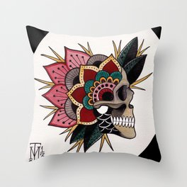 Mandala Skull Throw Pillow