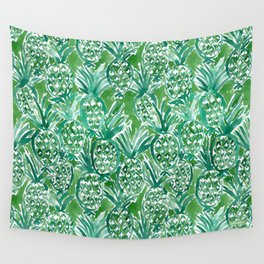 DEM PINEAPPLES Green Tropical Wall Tapestry