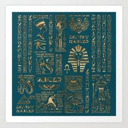 Egyptian hieroglyphs and deities - Gold on teal Art Print