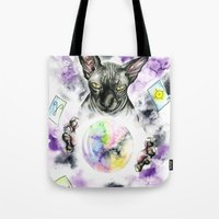 scarface Tote Bags featuring Daubie the fortune teller  by Psyca