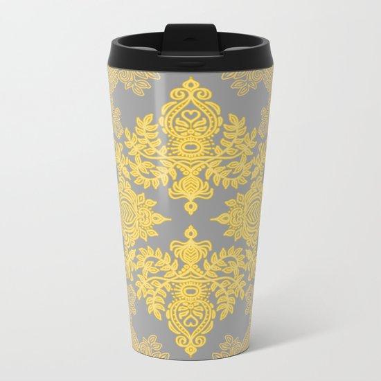 Golden Folk - doodle pattern in yellow & grey Metal Travel Mug