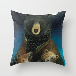 Mama Bear at Night Throw Pillow