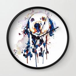 Dalmatian Head Watercolor Portrait Wall Clock