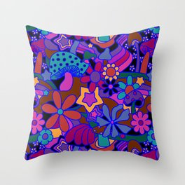70's Psychedelic Garden in Cool Jeweltone Throw Pillow