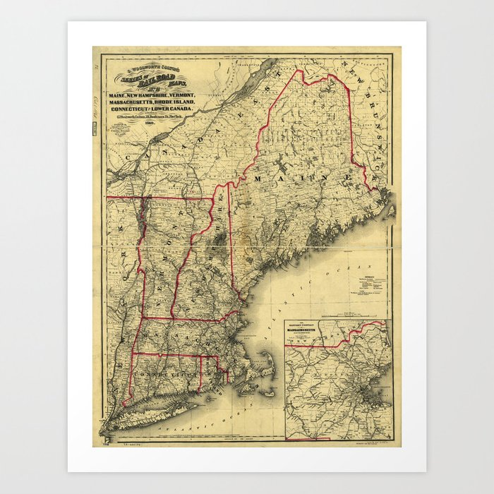 graphic about Printable Map of Maine called Map of Maine, Clean Hampshire, Vermont, Machusetts, Rhode Island, Connecticut, Decreased Canada (1860) Artwork Print via thearts