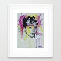 hepburn Framed Art Prints featuring Hepburn  by Michael J Illustrations