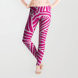Abstract pink & white Lines and Triangles Pattern-Mix and Match with Simplicity of Life Leggings