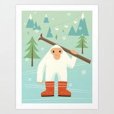 Yeti skieur Art Print