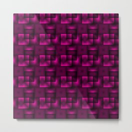 Cubes of pink rhombuses and black strict triangles. Metal Print