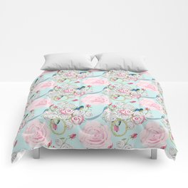 Bluebirds and Shabby Chic Roses on Paris Blue Comforters