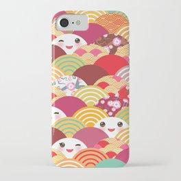 Kawaii Nature background with japanese sakura flower, wave pattern iPhone Case