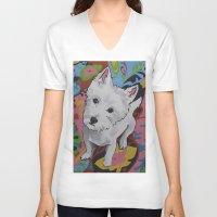 westie V-neck T-shirts featuring Pop Art Westie Named Poppy by Karren Garces Pet Art