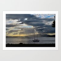 Boat moored in the evening light Art Print