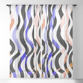 Wavy lines - orange, blue and black Sheer Curtain