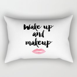 Wake Up And Makeup,Girls Room Decor,Bathroom Decor,Quote Prints,Lips Art,Gift For Her,Wall Art Rectangular Pillow