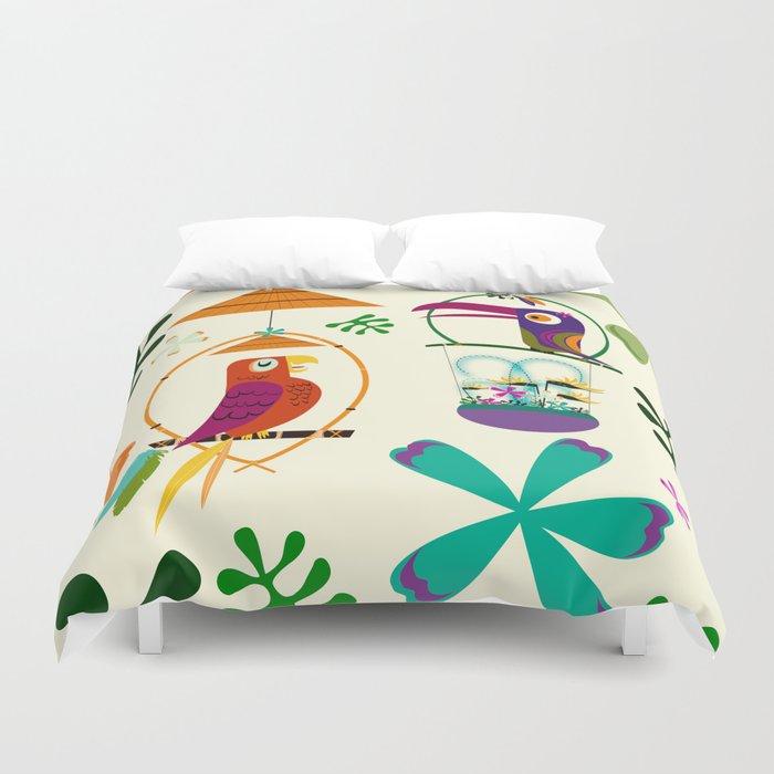 Vintage Modern Tiki Birds Bettbezug