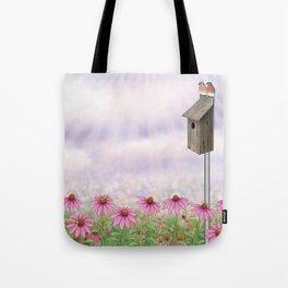 eastern bluebirds, echinacea, and bumble bees Tote Bag