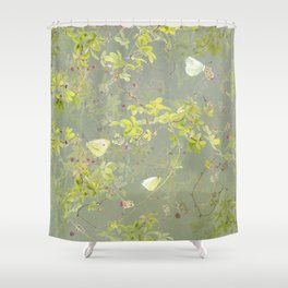Akebia and green-veined white Shower Curtain