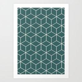 Cube Geometric 03 Teal Kunstdrucke
